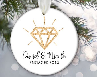 JUST ENGAGED Ornament Engagement Gift Personalized Christmas Ornament Bridal Shower Gift Faux Glitter Diamond Ornament Names & date OR460