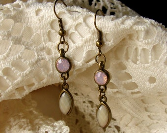 Simple Subtle & Chic Opalescent Pink Gemstone Drop Dangly Earrings