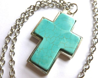 Sleeping beauty turquoise necklace sterling silver turquoise vintage silvertone turquoise cross turquoise silver cross pendant southwestern cross necklace turquoise aloadofball Image collections