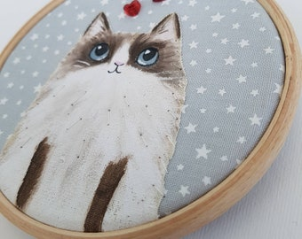 Ragdoll Cat - cat mom gift - cat lover art - hoop art