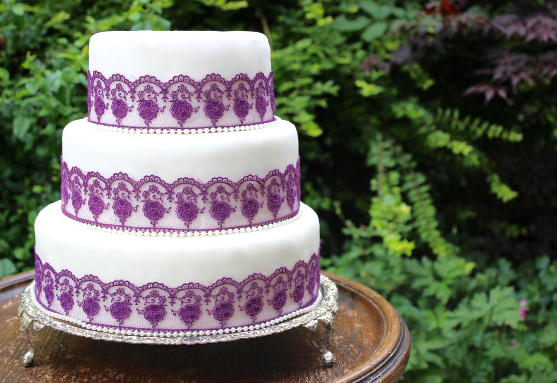 Purple Cake Lace Cake Decorating Purple Wedding Cake Wedding Cake