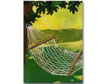 Backyard Hammock - Father's Day, Retirement, Summer Vacation, All-Occasion CARD or PRINT - Childhood Memories - Take it easy (CMEM2013019)