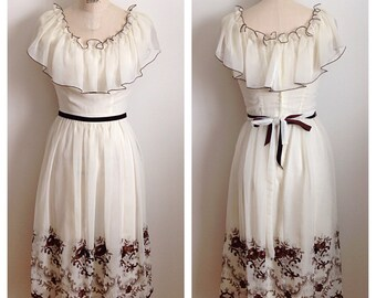 Vintage 1970s embroidered Grecian dress