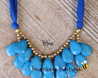 Anthropologie Necklace, Bib Necklace, Blue Statement Necklace, Teardrop Necklace, Statement Necklace