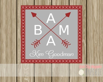 Personalized Alabama arrows enclosure card, calling card, hang tag, birthday card, crimson, grey, digital printable