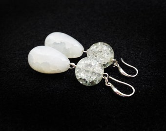 Simple Earrings, White Gemstone Chalcedony Bridal Earrings Wedding Accessories Summer Casual Jewelry