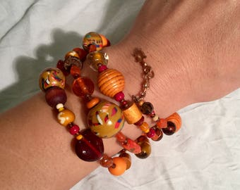MULTISTRAND bracelet Orange, varous pearls, Bohemian...