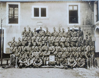 Large French Military Band photograph, vintage mounted military photo