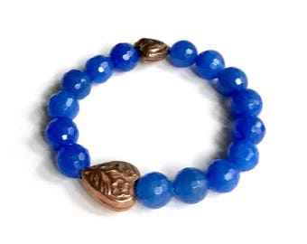 Royal Blue Jade Copper Heart Beaded Minimalist Bracelet for her   Under 40, Free US Shipping