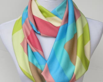 Chevron Scarf Pastel Rainbow Chevron Infinity Scarf Zigzag Super Soft Scarf Pink Green Blue Circle Scarf loop scarf gift for women teen girl
