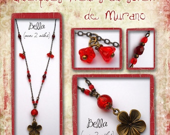 "Necklace ""Flowers in the Sun of Murano"" bronze metal and red glass beads"
