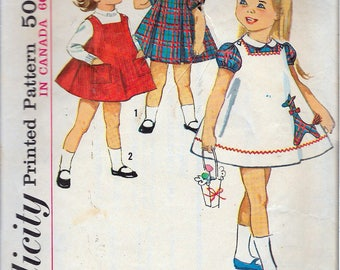 Vintage 1963 Simplicity 5165 Toddlers One-Piece Dress & Jumper Sewing Pattern Size 1 Breast 20""