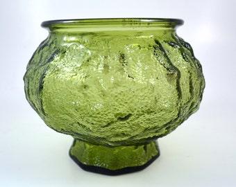 Vintage E.O. Brody Ohio Green Textured Glass Bowl circa 60's