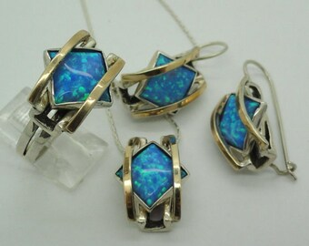 Amazing Yellow Gold & Sterling Silver blue opal stone filigree set (vs-s1600)