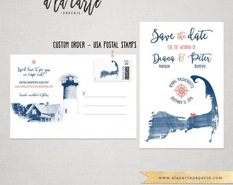 Destination wedding Cape Cod Massachusetts Save the date Postcard with illustration sketch drawing watercolor Deposit Payment