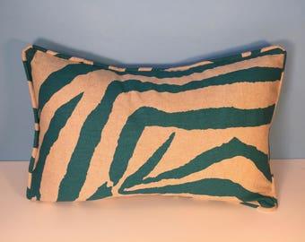 """20x13"""" Decorative Corded Pillow Cover - Teal Zebra 20x13 Lumbar"""