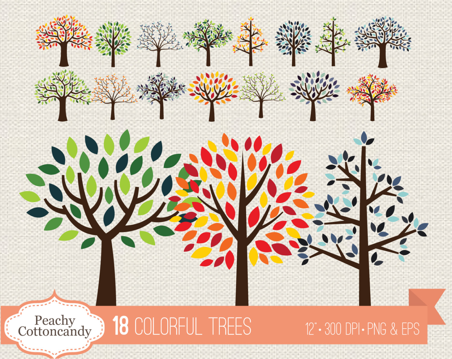 BUY 2 GET 1 FREE Colorful trees clipart summer tree clip art