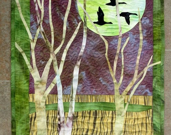 Art quilt with hand painted/dyed fabric,wall hanging, textile art  - Night Flight -  fiber art