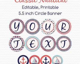 Nautical Sailor Baby Shower Banner, Sailor Party Decoration, Nursery Decor, Party Supplies, Birthday - Editable, Printable, Instant Download