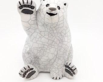 Raku firing polar bear