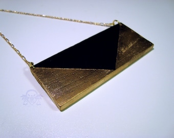 LUXE Collection - Reversible Metallic Gold and Black Wood Geometric Necklace