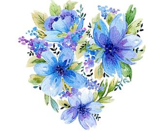 Blue Flowers Original Watercolour Painting 87