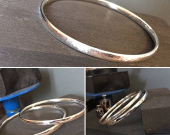 Womens or Mens Sterling Silver Hammered Bangle; Ladies Silver Bangle; Solid Silver Bangle; Stacking Bangles; 925 Silver Bangle; Mens Silver