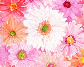 Original Gerbera Daisies Watercolor Painting , Pink, Coral, Cream Gerber Daisies watercolor flowers painting of daisy flowers 8 x 10