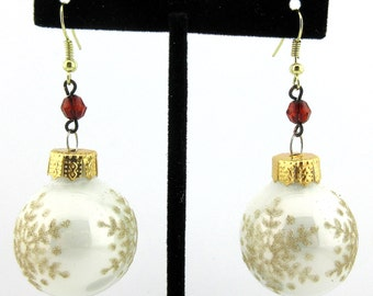 White Gold Snowflake Ball Glass Ornament Earrings Holiday Party!