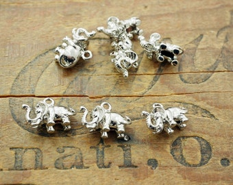 Small Elephant Charm Silver Plated Copper Charm 3D Elephant Charm (2) P109