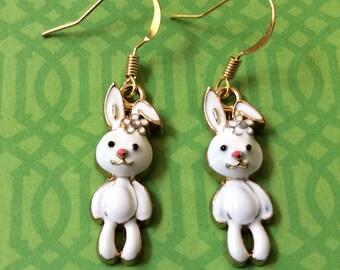 Easter bunny earrings. White rabbit earrings. Springs earrings. Holiday earrings. Bunny jewelry. Easter jewelry. HAND PAINTED white earrings