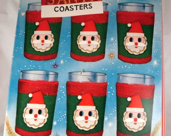 Vintage Christmas Santa Claus Coasters, Cozies, Red, Green, White, Boxed Set, Holiday Decor, New Old Stock, Made in Japan, Kitsch, Retro