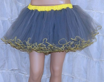 Yellow and Grey Piped Costume TuTu Crinoline Skirt MTCoffinz --- Adult All Sizes