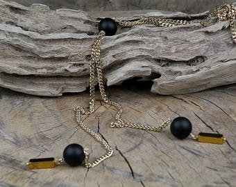 Inspiration onyx necklace, gold necklace, Valentine's gift, 24K gold plated, Hematite bead, gift for women, lariat necklace, Y necklace,