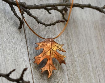 Pin Oak Copper Pendant Necklace
