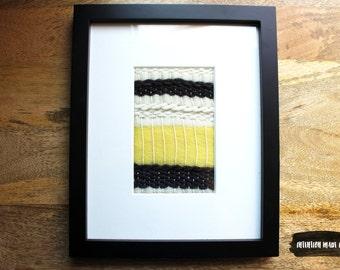 Framed Wall Weaving - Loom Weaving Framed Textile Art
