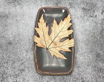 Leaf dish - Maple leaf dish - ring dish - spoon rest - fall leaf - fall decor - goth decor