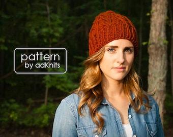 Chunky Hat Knitting Pattern, Slouchy Cable Winter Hat, Beanie PDF Pattern, Digital Download - Aspen Hat Pattern