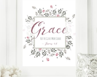 Personalized Pink and Gray Floral Digital Wall Art Print | Modern Christian Art | Scripture Print | Word of the Year