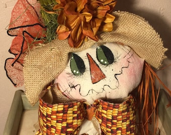 Scarecrow Girl, Scarecrow Lady on Old Bed Spring, Autumn Scarecrow Girl on Old Bed Spring.
