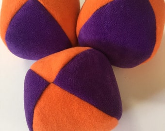 110g - 3 Soft PJ JUGGLING BALLS - Orange and Purple