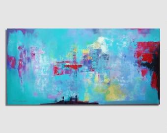 FAIT SUR COMMANDE Abstract painting Vert, bleu, rouge Grande taille 97x195cm / 38x77 pouces Peinture abstraite Originale, Moderne