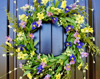 Spring flowers wreath~Wildflower wreath~mixed wildflowers~front door wreath~spring wreath~summer wreath~wreath with bow~wreaths