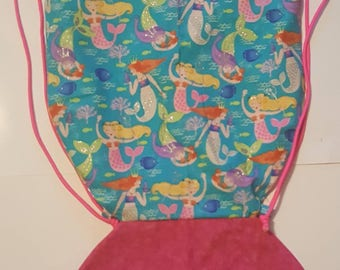 "Super Cute 13"" Mermaid  Drawstring  Bag"