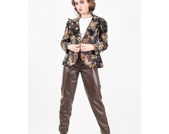 Vintage cotton velvet blazer / 1970s dark floral print / Wide lapel puff sleeves / Glam rock fitted jacket / M L