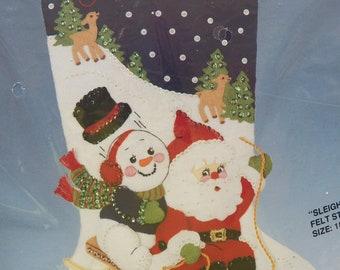 Bucilla SLEIGH RIDE Felt/Sequin Stocking Embroidery Kit~Christmas Santa/Snowman