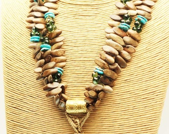 Chrysocolla Necklace and Wood