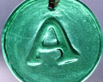 Recycled beer bottle glass medallion alphabet sun catcher/rondel