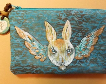 Zippered Pouch Hand Painted Rabbit Face and Wings