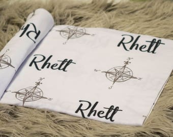 Personalized Swaddle Blanket - Adventure Seeker – Personalized Swaddle Blanket / Baby Name Blanket - Compass